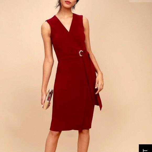 e6b6ae3d54e3 Lulu's Dresses   Lulus Red Faux Wrap Sleeveless Midi Dress   Poshmark